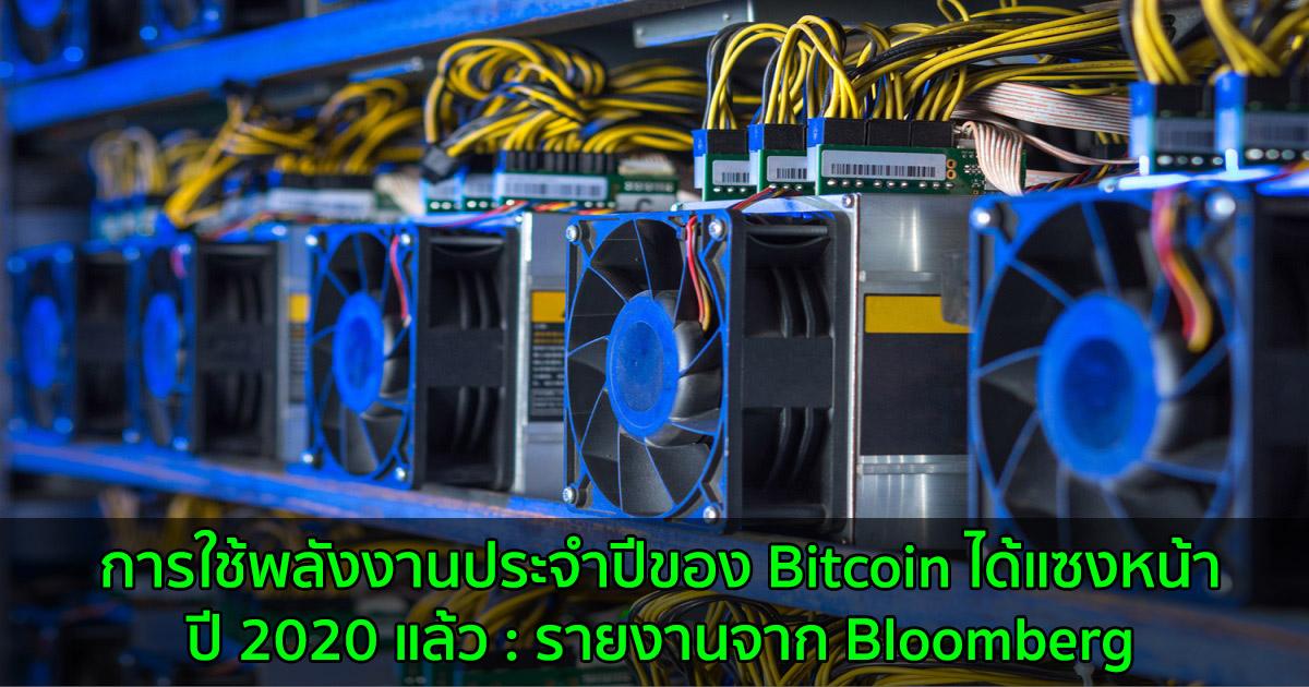 การใช้พลังงานประจำปีของ Bitcoin ได้แซงหน้าปี 2020 แล้ว : รายงานจาก Bloomberg