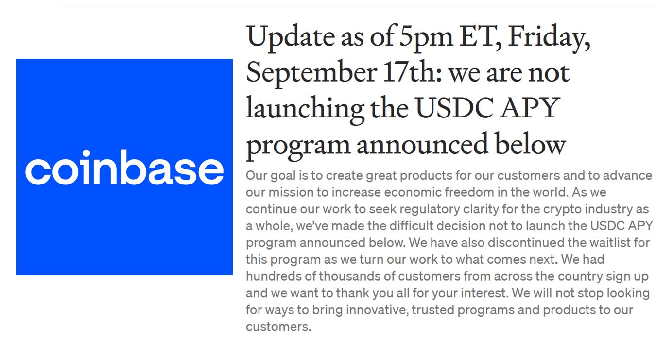 Coinbase :「我們做了艱難的決定」應SEC警告,撤回穩定幣借貸理財、數十萬人已註冊