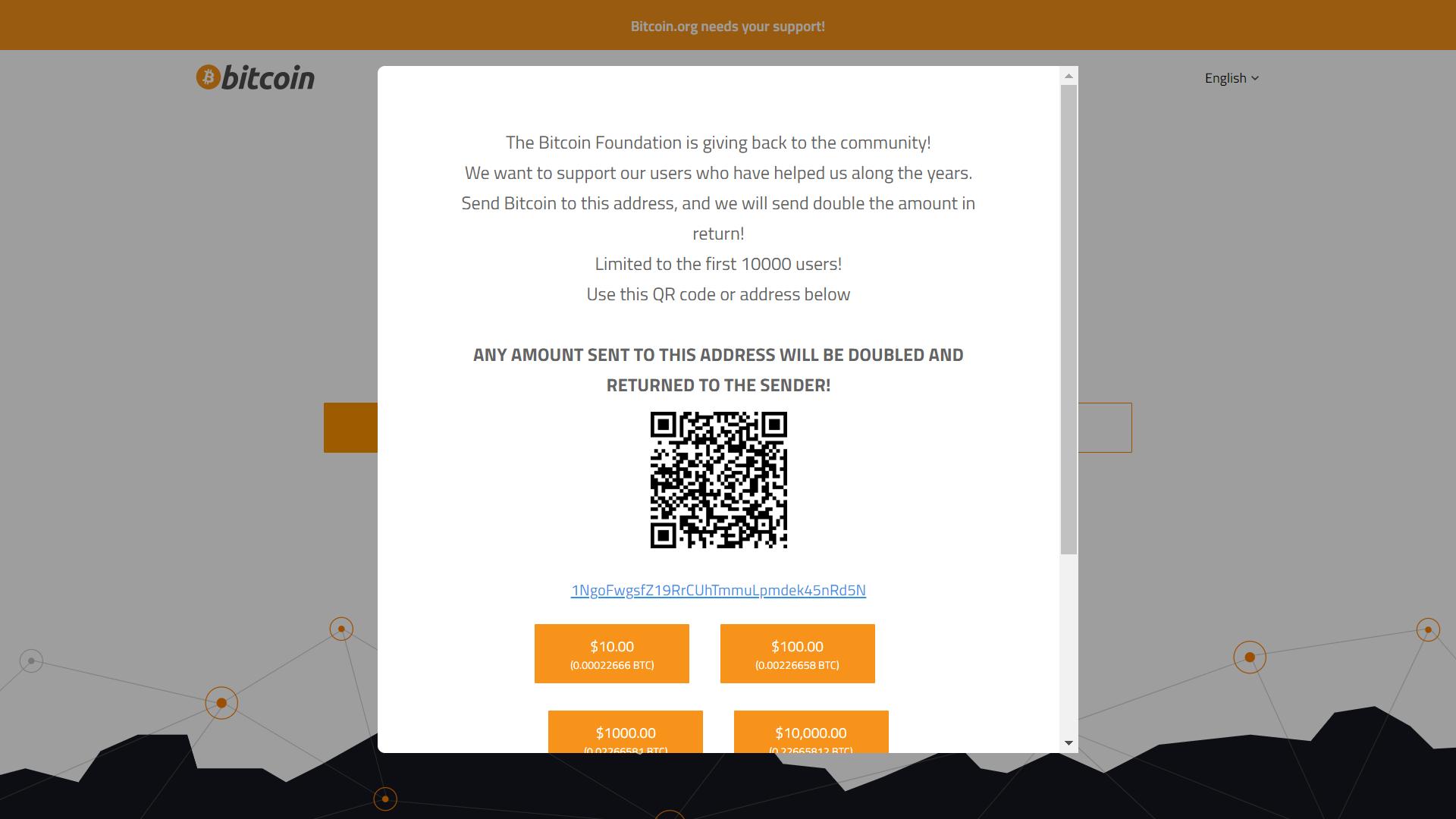 Trang web Bitcoin.org bị tấn công, chèn scam giveaway BTC