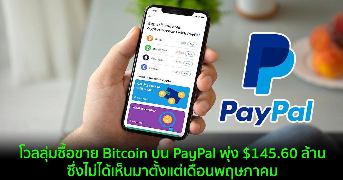 โวลลุ่มซื้อขาย Bitcoin บน PayPal พุ่ง $145.60 ล้าน ซึ่งไม่ได้เห็นมาตั้งแต่เดือนพฤษภาคม