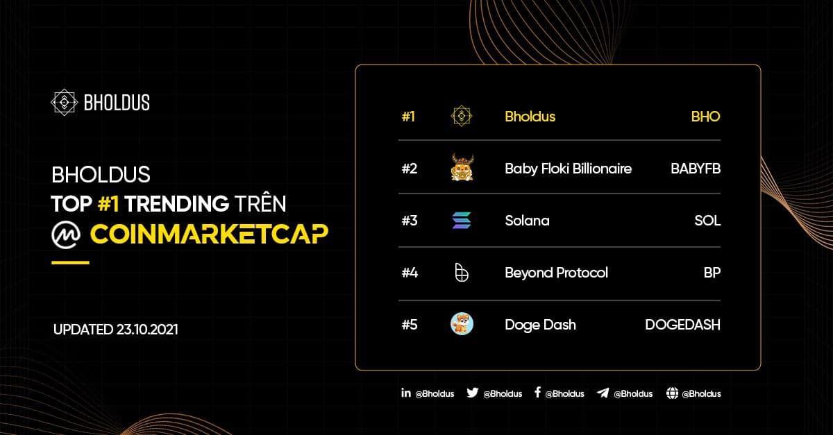 Bholdus (BHO) chiếm vị trí Top 1 Trending của CoinMarketCap