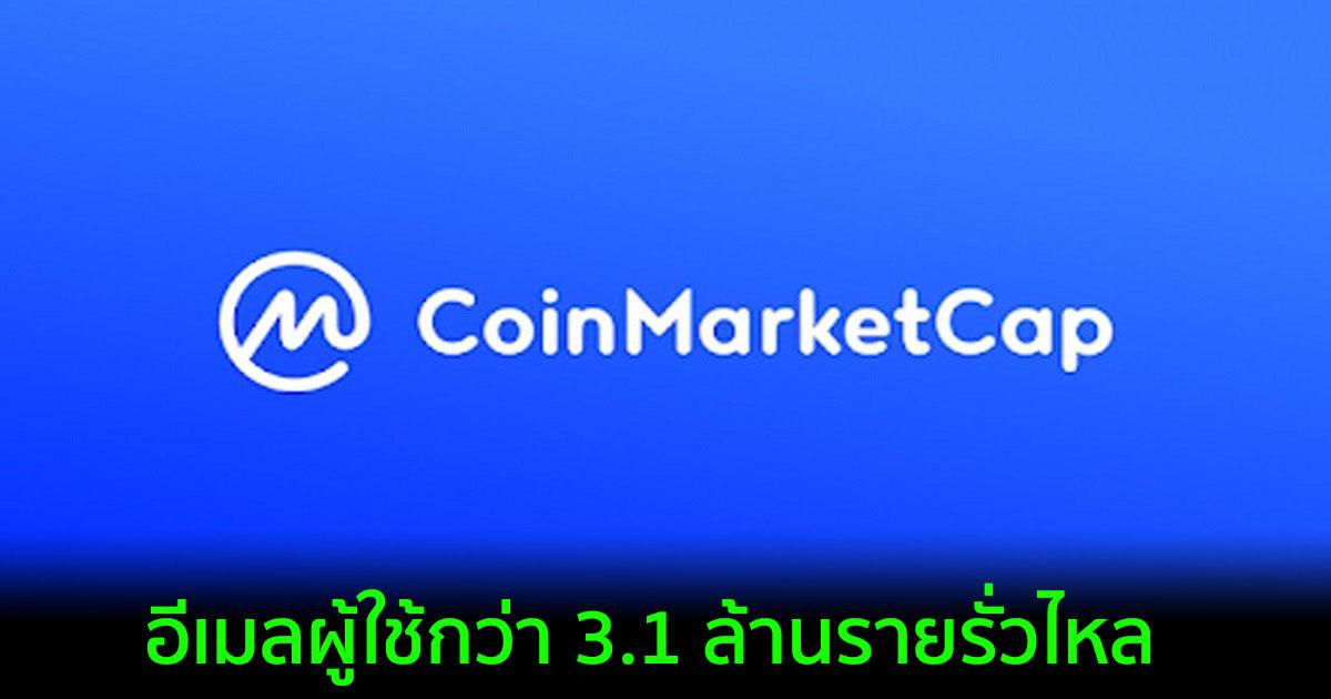 CoinMarketCap โดนแฮ็ก?? ที่อยู่อีเมลผู้ใช้กว่า 3.1 ล้านรายรั่วไหล