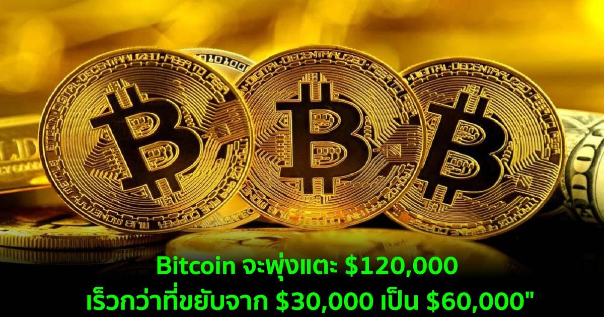 """Bitcoin จะพุ่งแตะ $120,000 เร็วกว่าที่ขยับจาก $30,000 เป็น $60,000"" นักวิเคราะห์กล่าว"