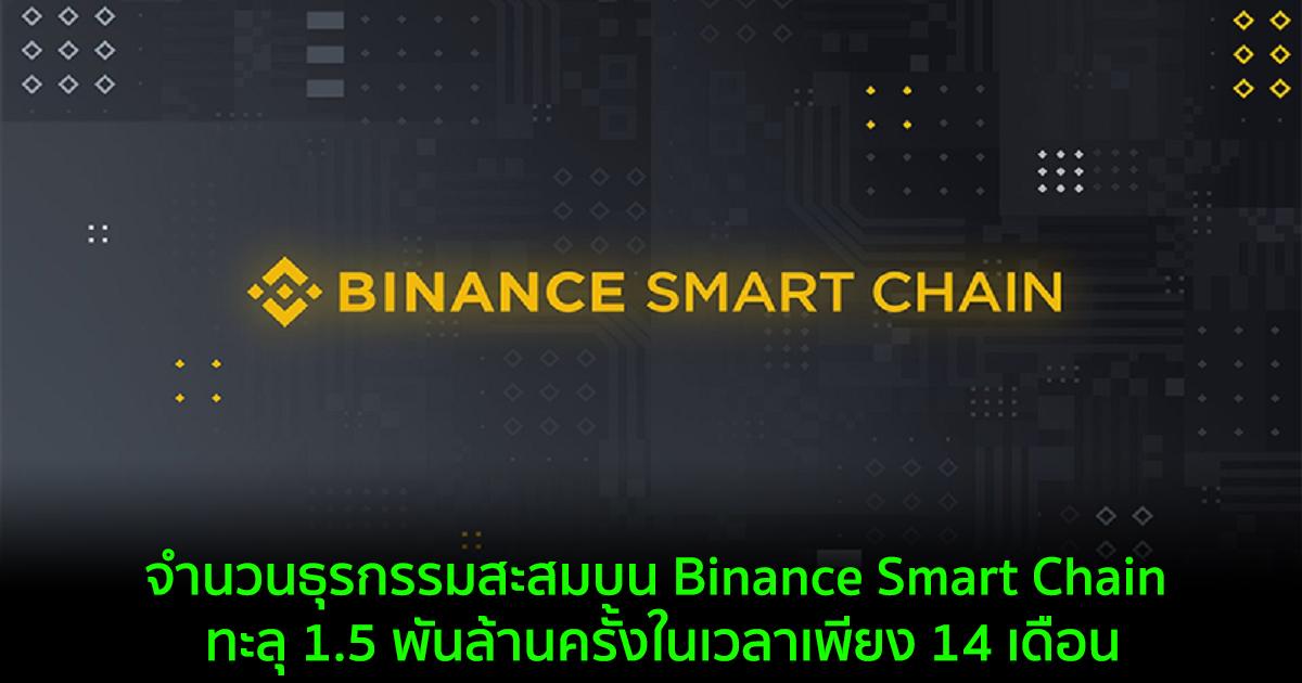 จำนวนธุรกรรมสะสมบน Binance Smart Chain ทะลุ 1.5 พันล้านครั้งในเวลาเพียง 14 เดือน