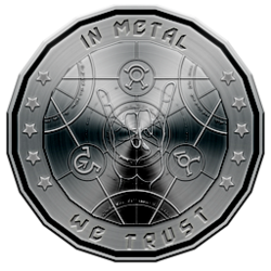 metal music coin logo