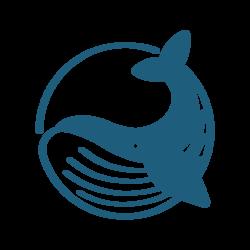 Blue whale logo web transparent blue