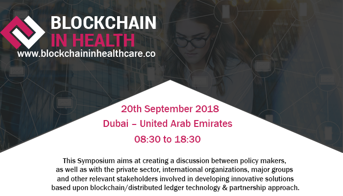 Blockchain in healthcare symposium dubai banner