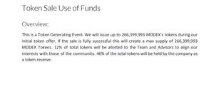 Modex token distribution
